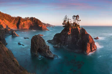 ocean rock formations at sunset