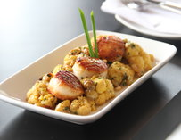 Scallops served with cauliflower