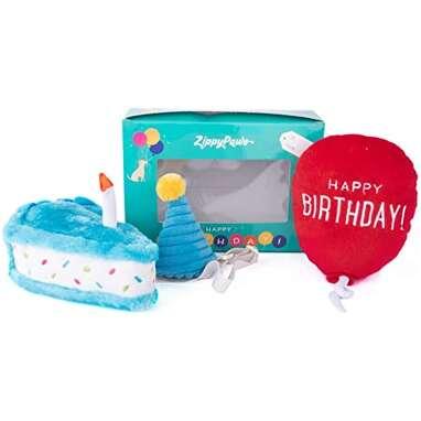 ZippyPaws - Birthday Box Gift for Dogs Squeaky Toy Set - 3 Toys