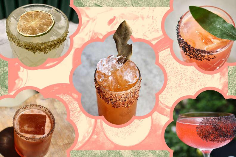 various cocktails with salt rims