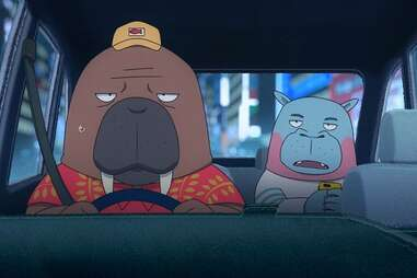 odd taxi anime, odakawa walrus taxi driver