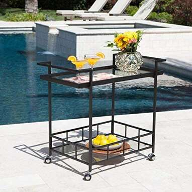 Selma Industrial Outdoor Iron Bar Cart