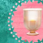 Large Fluted Vintage Pink Lynne Hurricane Candle Holder and Vase