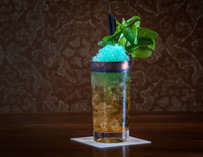 A cocktail piled with crushed ice