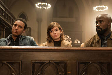 Aasif Mandvi, Katja Herbers, and Mike Colter in Evil