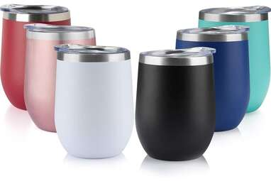 Six Pack of 12oz Stainless Steel Tumblers with Lids