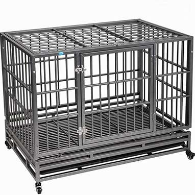 COZIWOW Heavy Duty Rolling Dog Crate