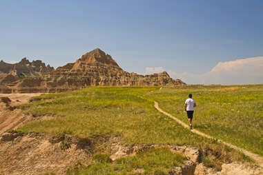 hiker in the badlands
