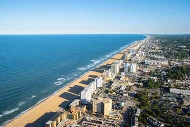 a birds-eye-view of a beach town