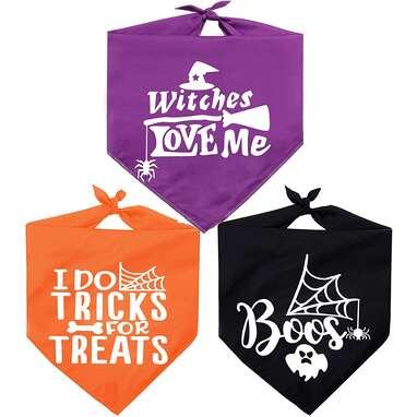 Pawskido 3-Pack Dog Halloween Bandana
