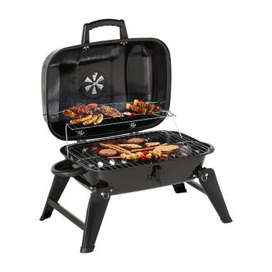 """Outsunny 23.5"""" Portable Folding Tabletop BBQ Kettle Charcoal Grill"""