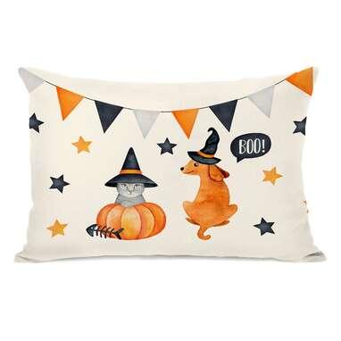 Keagan Halloween Cat and Dog Throw Pillow