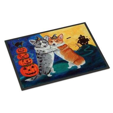 Corgi Halloween Scare Non-Slip Outdoor Door Mat