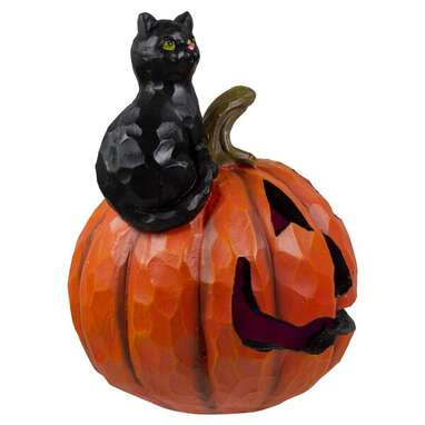 Jack-O-Lantern and Cat Tabletop Halloween Decoration
