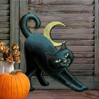 Spooky Halloween Cat Wooden Door Mural