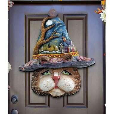 Halloween Eve Cat Hanging Figurine Wood Door Hanger Wall Decor