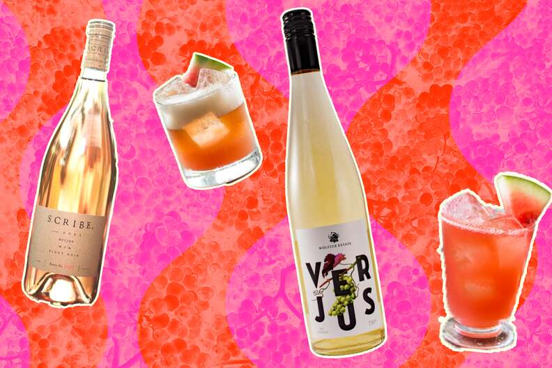 verjus bottles and cocktails