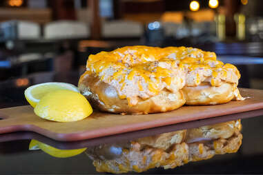 Station 18 Drinks and Eats Bavarian pretzel smothered in crab dip and baked cheese