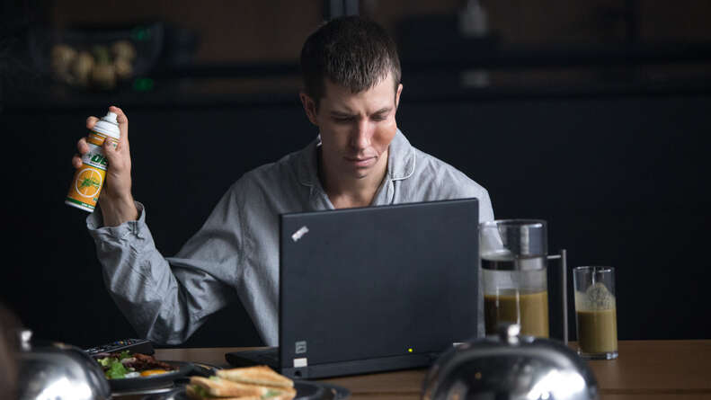 mosquito state, beau knapp bug spray at laptop