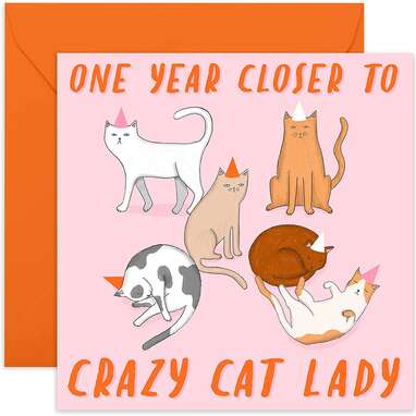 Central 23 - Funny Birthday Card - 'Cat Lady' Joke