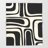 Midcentury Modern Abstract Pattern Throw Blanket by Kierkegaard Design Studio