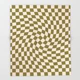 Check VI - Green Twist — Checkerboard Print Throw Blanket by Galaxy Eyes