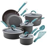 Rachael Ray Cucina Hard-Anodized Aluminum Nonstick Cookware Set, 12-Piece, Gray with Cranberry Red Handles
