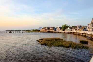 houses lined along a seashore