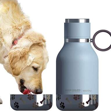 Absobo Dog Pet Bowl Attached to Stainless Steel Water Bottle