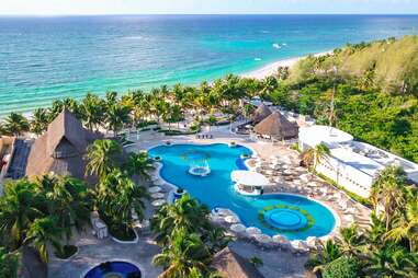 aerial view of hotel's pool and beach