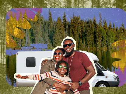a family hugging outside of an rv