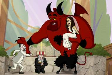 lucifer season 6 animated episode, devil lucifer holding chloe in wedding dress