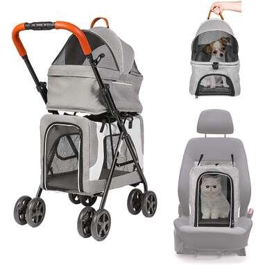 LUCKYERMORE Double Pet Stroller
