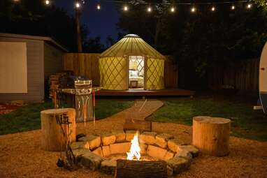 A backyard urban yurt in the city of Austin