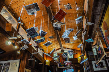 Books hanging in the Henry Miller Library