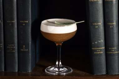 Hell or High Water Bar  Bourbon, Quinquina, egg white, honey, lemon, & sage