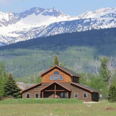 Modern western-style lodge with views of the Tetons