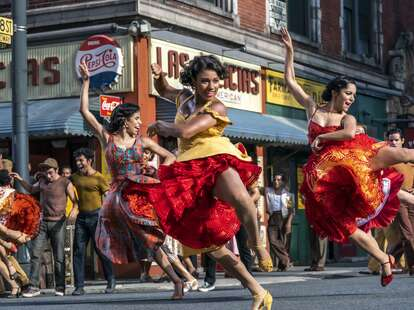 west side story, dancing in front of bodega