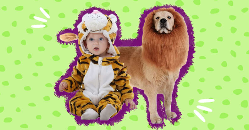 babies and dogs in matching costumes