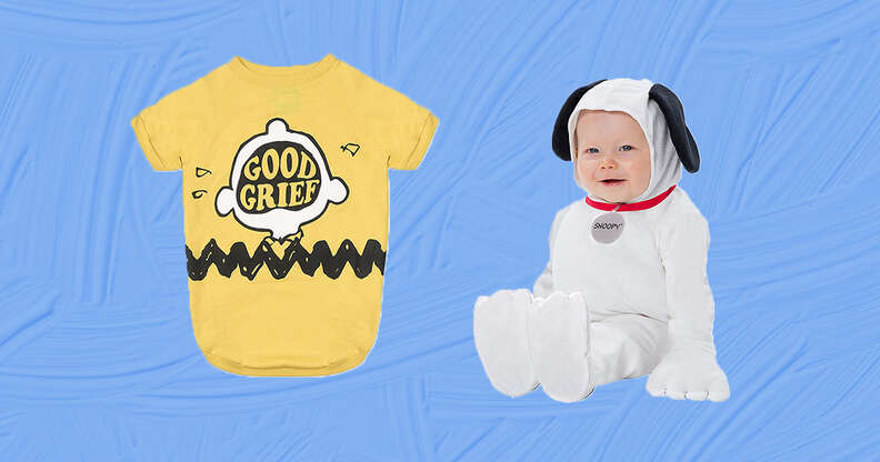 Charlie brown and snoopy dog and baby costumes