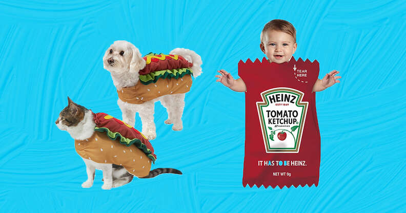 hot dog and ketchup dog and baby costume