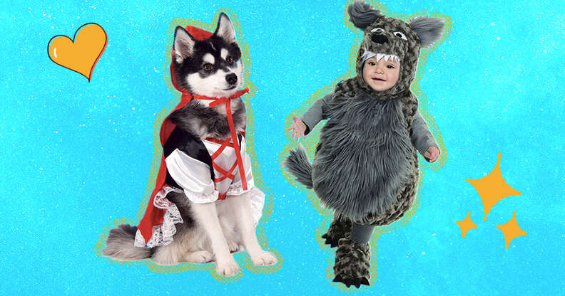 dog and baby in halloween costumes