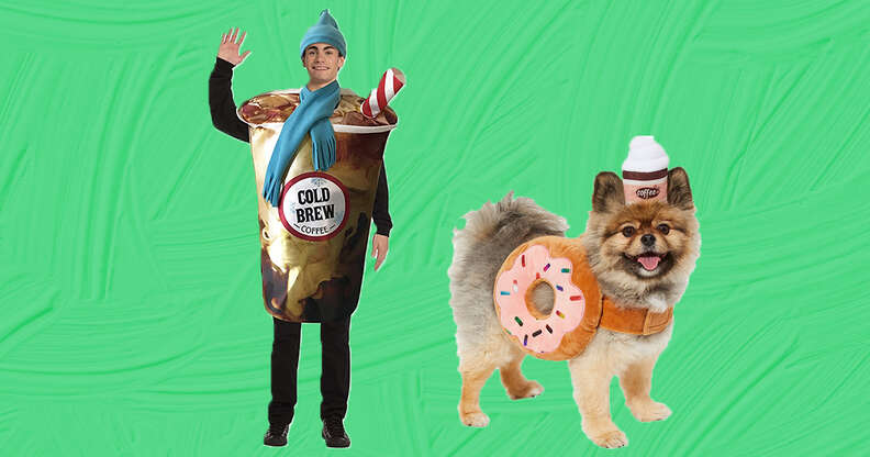 A coffee and donut matching owner and pet costume