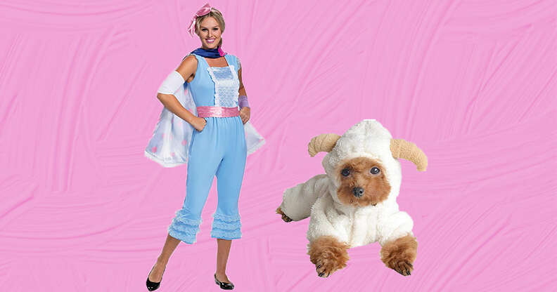 Bo peep and sheep dog and owner costumes