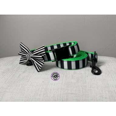 BEETLE SET  Black and White Stripe Dog Collar and Leash Set