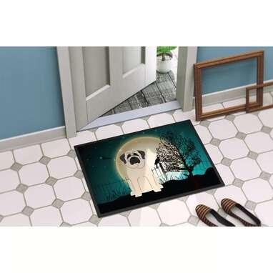 White Pompierie Halloween Scary Mastiff Outdoor Door Mat