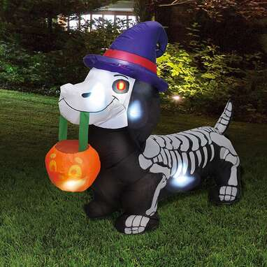 Joiedomi 5 FT Long Halloween Inflatable Skeleton Wiener Dog