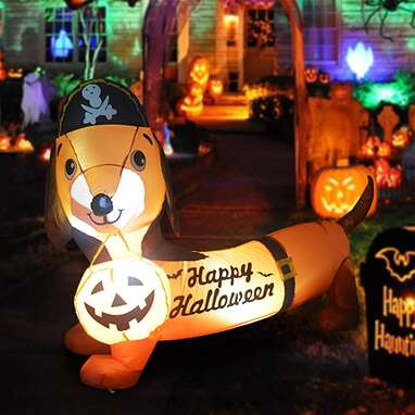 GOOSH 5 FT Halloween Inflatable Outdoor Dog with a Pumpkin & Pirate Hat