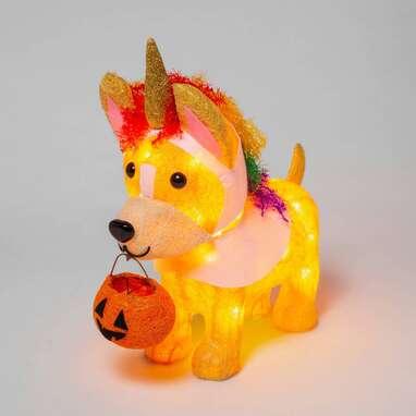 Unicorn Dog Incandescent Sisal Lighted Halloween Decor