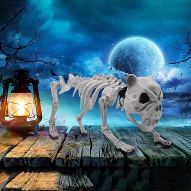 "Halloween Decoration 16"" Pose-N-Stay Puppy Skeleton"
